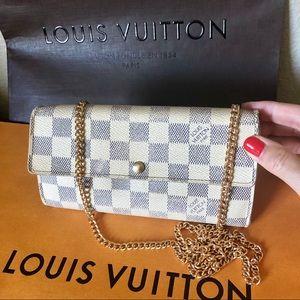 Louis Vuitton Damier Azur Sarah Wallet with Chain